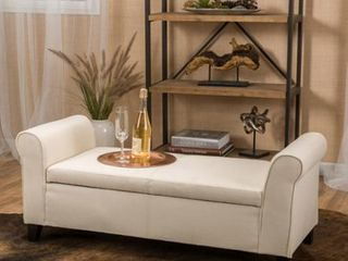 Torino Contemporary Fabric Upholstered Storage Ottoman Bench with Rolled Arms by Christopher Knight Home  Retail 196 99