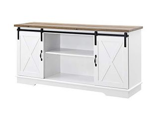 Walker Edison Furniture Company Modern Farmhouse Sliding Barndoor Wood Stand for TV s up to 65  Flat Screen Cabinet Door living Room Storage Entertainment Center  28 Inches Tall  White
