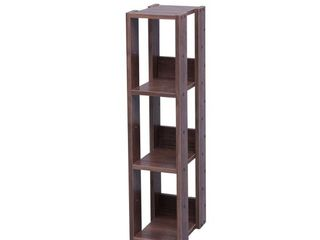IRIS USA  Slim 3 Shelf Wood Rack  Brown