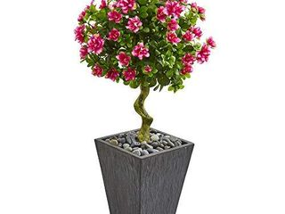 Nearly Natural 3 5 Ft  Azalea Artificial Topiary Slate Finished Planter Silk Trees Pink