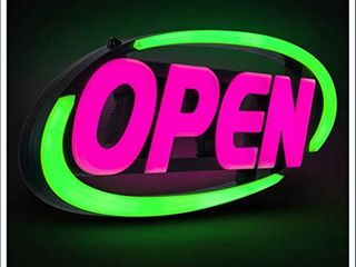 GlI led Open Sign for Business a Stand Out with 64 Super Bright Color Combos to Match Your Brand  Programmable App a Neon Flash  or Scroll a 15 x 32 inch  Damaged