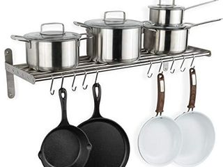 Wallniture lyon Hanging Pot Rack Wall Mounted Shelf with Hooks   Heavy Duty Pot Hangers for Kitchen   Cookware Utensils Pot lid Organizer Storage  Stainless Steel   Chrome   Not INSPECTED