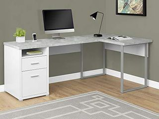 Monarch Specialties Computer Desk left or Right Facing White   Cement look 80 l