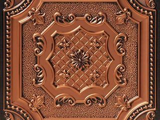 From Plain To Beautiful In Hours 258ac 24x24 Damaris PVC 2  x 2  Glue up or lay in Ceiling Tile  Covers   4 sq ft  Pack of 1  Antique Copper