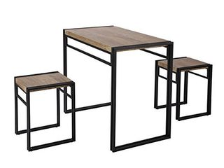 FIVEGIVEN 3 Piece Dining Set Small Kitchen Table Set for 2  Table and 2 Chairs Dining Set  Rustic Industrial Sonoma Oak