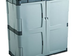 Rubbermaid Double Door Storage Cabinet  18  D x 36  W x 37  H Gray Black  FG708500MICHR Small Vertical UNKNOWN IF COMPlETE NOT FUllY INSPECTED OUTSIDE BOX