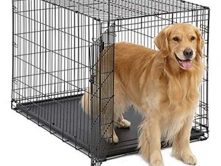 large Dog Crate   MidWest ICrate Folding Metal Dog Crate   Divider Panel  Floor Protecting Feet large Dog