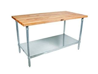 John Boos JNS01 Maple Top Work Table with Galvanized Steel Base and Adjustable Galvanized lower Shelf  36  long x 24  Wide x 1 1 2  Thick
