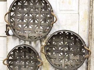 CWI Gifts Natural Round Tobacco Baskets w Jute Handles 3 Set