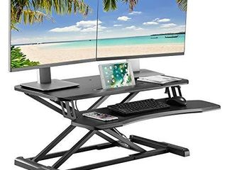 AVlT 32  Classic Standing Desk Converter   Height Adjustable Sit Stand Desk   Fits Ultrawide 34  Monitor   large Tabletop with Tablet Holder and Removable Keyboard Tray   Black