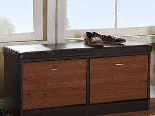Foley Modern   Tone and Oak Finishing Cushioned Bench Shoe Rack Cabinet Organizer   Dark Brown  Brown   Baxton Studio