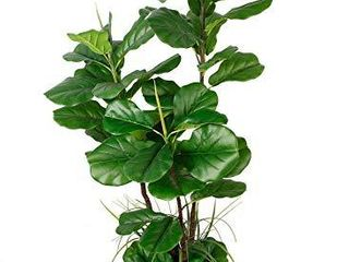 Deluxe 66  Premium Fiddle leaf FIG Artificial Tree   Fiddle leaf and Tropical Grass Foliage in 8  Base   12  Plant Pot Skirt