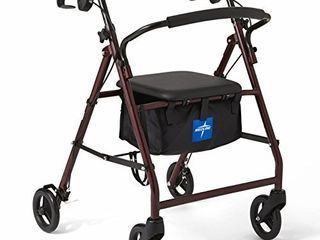 Medline   B079PG3BR3 Rollator Walker with Seat  Steel Rolling Walker with 6 inch Wheels Supports up to 350 lbs  Medical Walker  Burgundy