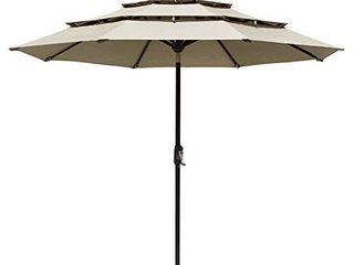 EliteShade Sunbrella 9Ft 3 Tiers Market Umbrella Patio Outdoor Table Umbrella with Ventilation Beige