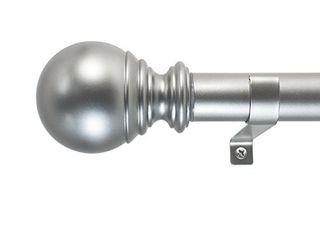 Decopolitan Ball Single Telescoping Drapery Rod Set  Medium  Silver DAMAGED