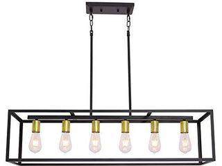 6 light VINlUZ Kitchen Pendant lighting Black with Antique Brass Metal Cage Chandelier Adjustable Hanging Island lighting for Dining Room Kitchen living Room   Not INSPECTED