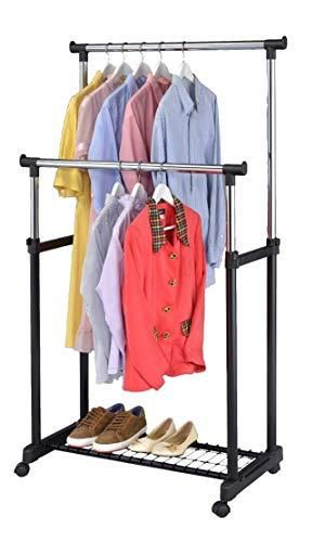Finnhomy Double Rail Adjustable Rolling Garment Rack with Bottom Shelf   Clothes Hangers with Wheels   Rolling Clothes Organizer  Black and Chrome   NOT INSPECTED