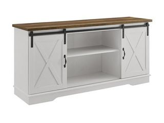 58  Farmhouse Wood TV Stand w  Solid White with Reclaimed Barnwood Top