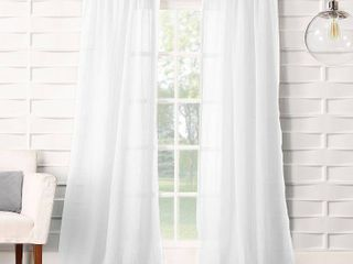 Pair of 108 x50  Avril Crushed Textured Semi Sheer Rod Pocket Curtain Panel White   No  918