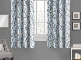Set of 2 63 x54  Branches linen Blend Grommet Top Window Curtain Panel Teal   Exclusive Home