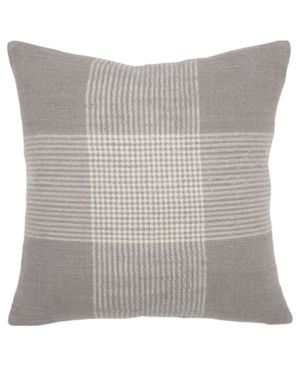 Rizzy Home Plaid Gray White Decorative Down Filler Pillow   20 x20