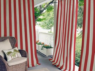 PAIR 52  W X 95  l   Red  Elrene Highland Stripe Indoor Outdoor Curtain Panel