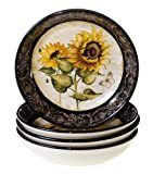 4 Piece   White  Hand painted French Sunflowers 9 25 inch Soup Pasta Bowls  Set of 4