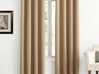 Pair of 95 x54  Kenneth Energy Saving Blackout Grommet Top Curtain Panel Taupe   Sun Zero