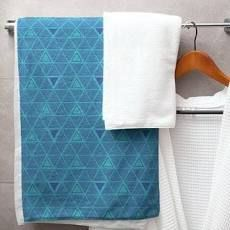 Cotton   Teal   Blue  Full Color Hand Drawn Triangles Bath Towel   30 x 60