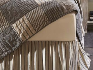 Dark Creme White Farmhouse Bedding Miller Farm Charcoal Cotton Split Corners Gathered Striped Queen Bed Skirt