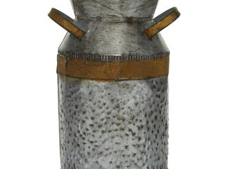 White  9 Inch Metal Milk Can with Rust Accents and Curved Handles Galvanized Gray
