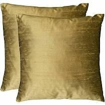 Duponi Silk Feather Filled Square Decorative Pillows  Set of 2