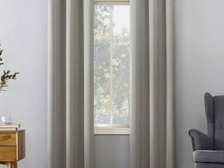 Pair of 84 x40  Kenneth Energy Saving Blackout Grommet Top Curtain Panel Silver Gray   Sun Zero