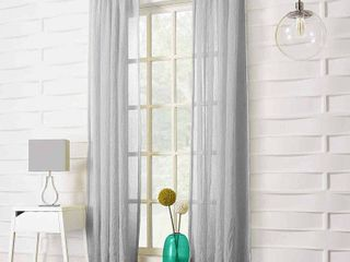 PAIR No  918 ladonna Rod Pocket Solid Semi Sheer Window Curtain Panel