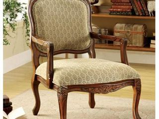 Antique Oak  Furniture of America Pees Traditional Beige Fabric Padded Accent Chair  Retail 299 05