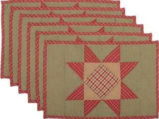 Placemat 12x18   Set of 6   Emerald Green Bright Red Natural