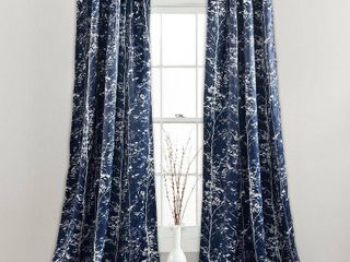 84 Inches   Navy  lush Decor Forest Window Curtain Panel Pair