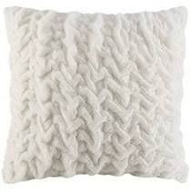 Ivory  Silver Orchid Bachman Ruched Faux long Fur Solid Brushed Euro Throw Pillow