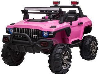 Aosom 12V Ride On Car 2  Seat SUV Truck w  Remote Control  3 Speeds  lED light Bar  Audio Input  Retail 335 49