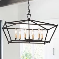 Modern Farmhouse 6 lights linear Island Chandelier Rectangle Frame Hanging Ceiling lighting   l 23 6  x W 12 6 x H 14 5  Retail 198 49