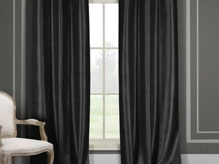 38x96    96 Inches   Black  Duck River Faux Silk Blackout Window Curtain Panel Pair  Set of 2
