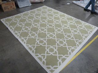 8  x 10  Green White Area Rug