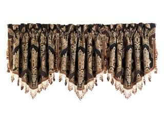 Five Queens Court Reilly Ascot Window Valance with Crystal Tassel Fringe