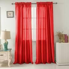 PAIR OF Red  Porch   Den Eads 84 inch Rod Pocket Curtain Panels