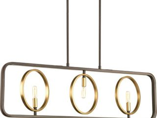 Swing Collection Three light linear Chandelier