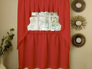 Valance  Opaque Red Ribcord Kitchen Curtain Pieces   Tiers  Valances  Swags
