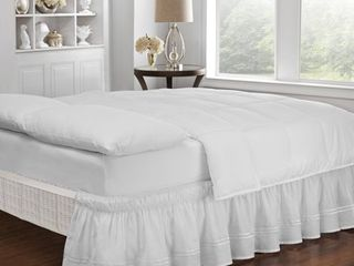 Queen King   White  Copper Grove Barron River Easy Fit Adjustable Baratta Stitch Embroidered 18 inch Drop Bed Skirt