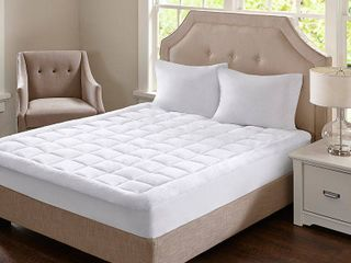 Madison Park Heavenly Soft Overfilled Plush Hypoallergenic Down Alternative Waterproof Mattress Pad   White