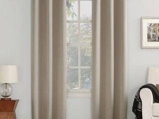 Pair of 120 x40  Kenneth Energy Saving Blackout Grommet Top Curtain Panel Stone   Sun Zero