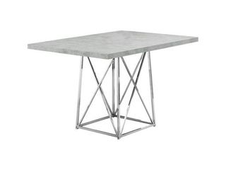 Grey  Offex Dining Table   36  x 48  Grey Cement Chrome Metal